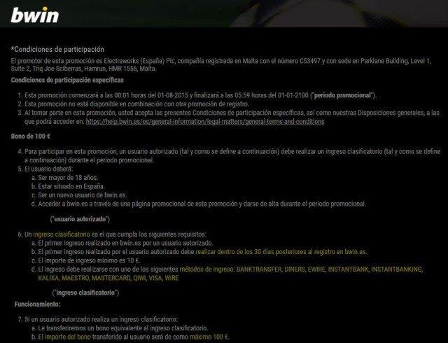 bwin bono bienvenida 100 foronaranja