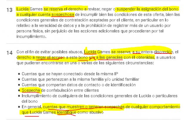 luckia bono bienvenida sin riesgo sinriesgo falsa condiciones foronaranja