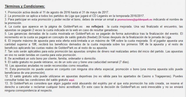 condiciones golden park