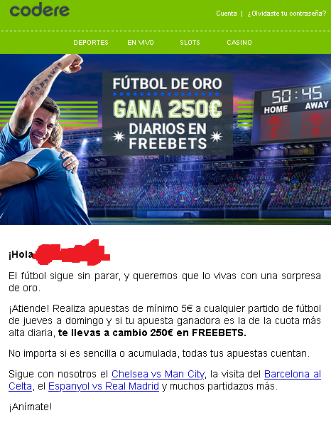 codere 250 futbol oro freebet